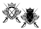 heraldic shield with crown, rose flowers and epee swords black vector design set