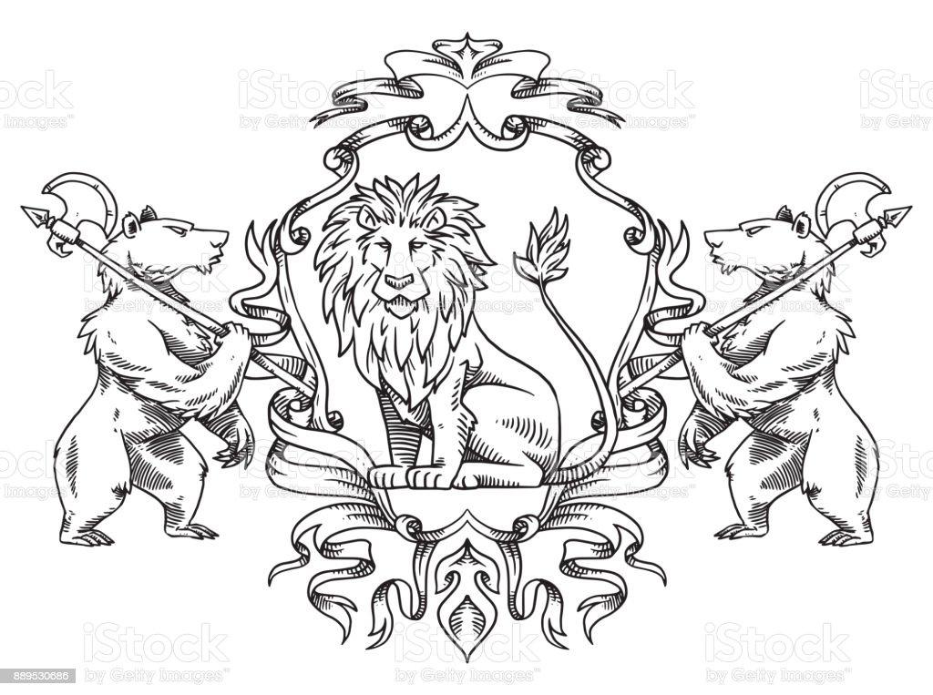 Blason de lion et ours dessin au trait cliparts - Lion a dessiner ...