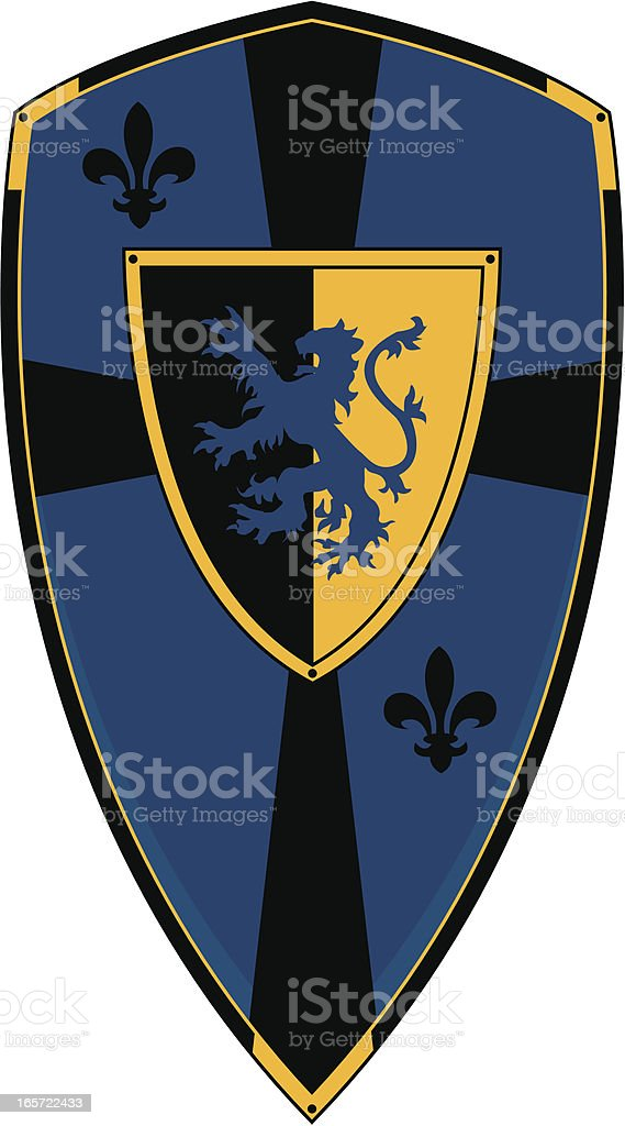 Heraldic Shield with Lion Silhouette royalty-free stock vector art