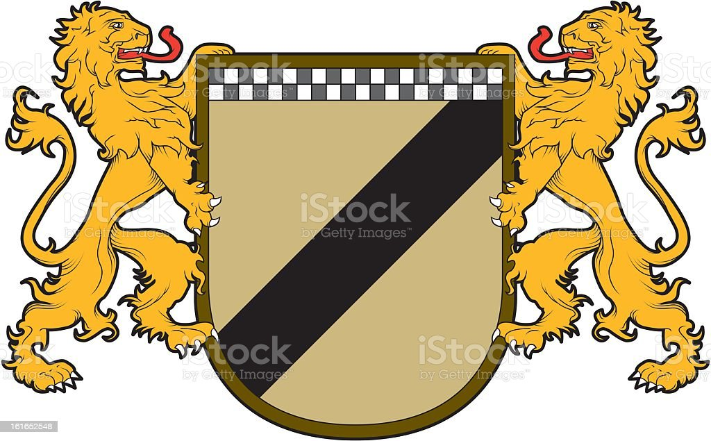 Heraldic Shield with Lions royalty-free heraldic shield with lions stock vector art & more images of animal mane