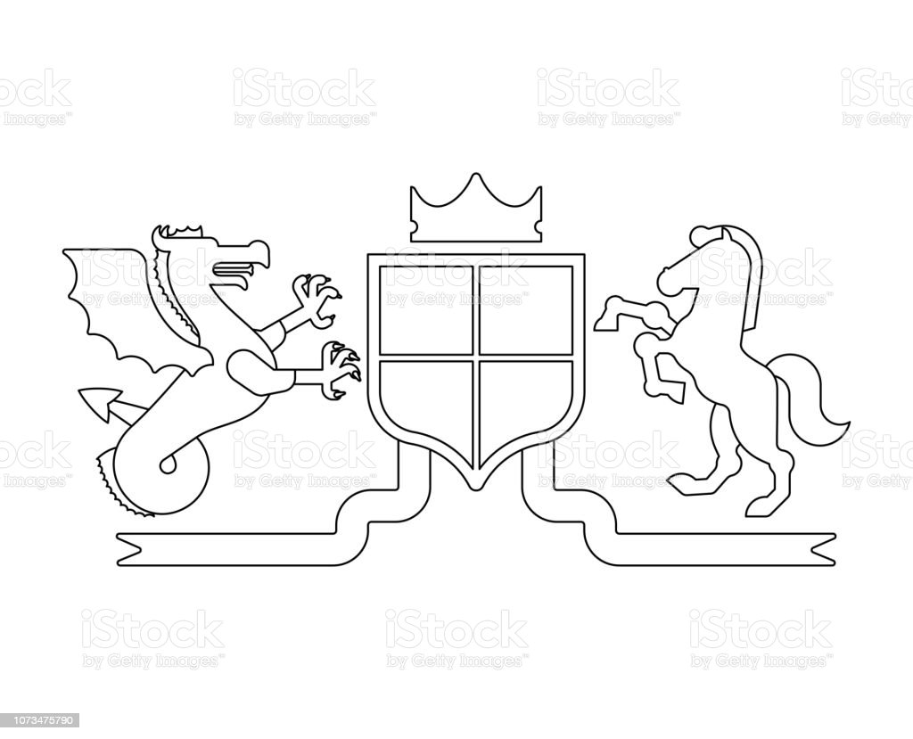 Heraldic Shield Wyvern And Horse And Knight Helmet Fantastic