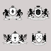 Heraldic signs, elements, insignia. Vector set