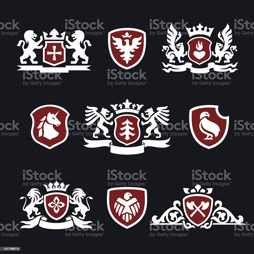 heraldic signs vector art illustration