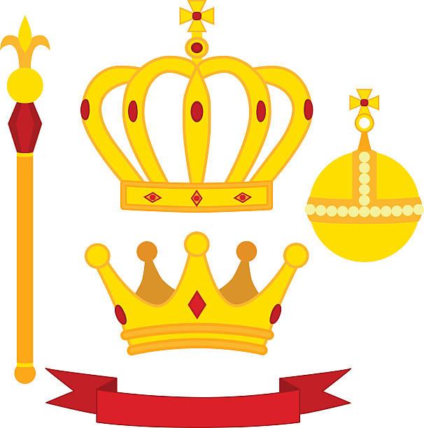 illustrations, cliparts, dessins animés et icônes de heraldic symbols, monarch set. royal traditions combination in flat style. - sceptre
