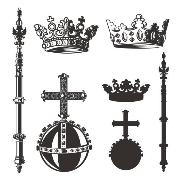 illustrations, cliparts, dessins animés et icônes de symboles héraldiques, monarque ensemble. illustration vectorielle. - sceptre