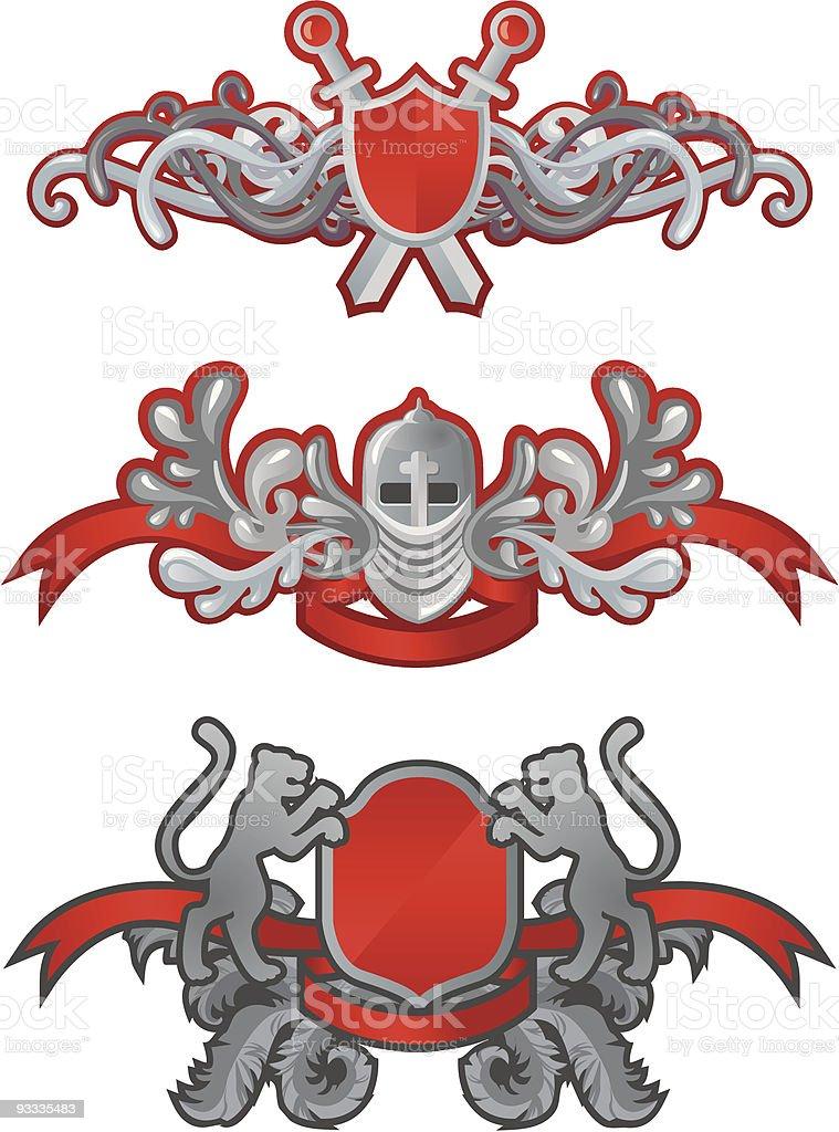 Heraldic Symbols Shield Swords Leopards Stock Illustration