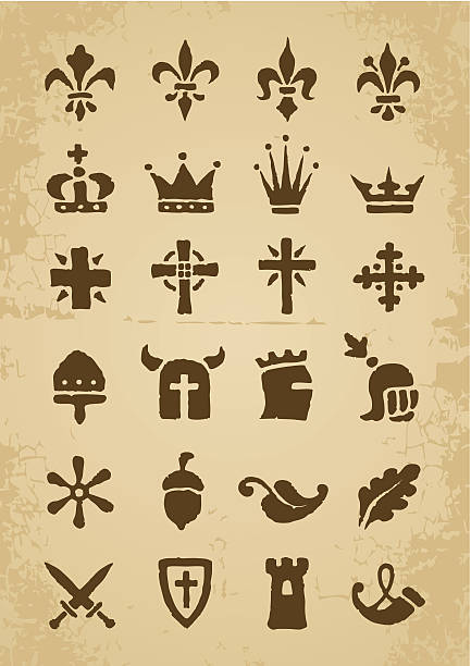 Heraldic symbols Heraldic symbols in the Romanesque style in the old paper romanesque stock illustrations