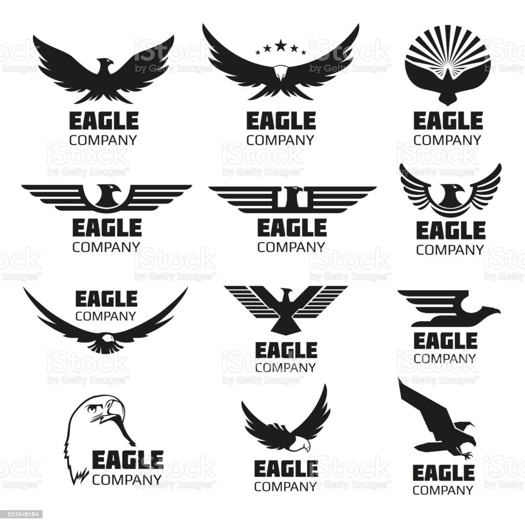 Heraldic symbols with eagle silhouettes. Vector emblems and logos set Heraldic symbols with eagle silhouettes. Vector eagle emblems or eagle logos set for company logo or brand logotype with eagle bird Abstract stock vector