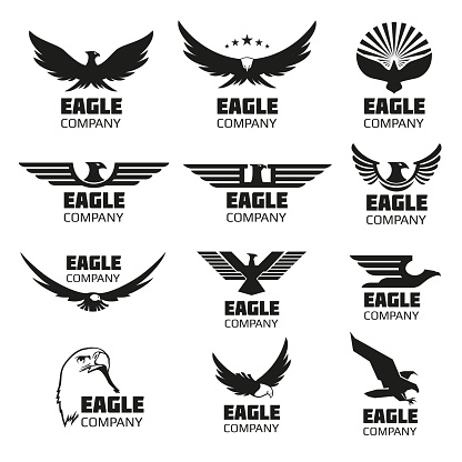 Heraldic Symbols With Eagle Silhouettes Vector Emblems And Logos Set Stock Illustration - Download Image Now