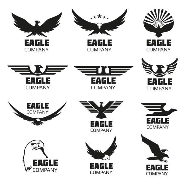 illustrations, cliparts, dessins animés et icônes de symboles aigle héraldique avec des silhouettes. vecteur symboles et logos ensemble - aigle