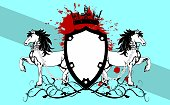 heraldic unicorn crest tattoo coat of arms insignia background in vector format very easy to edit