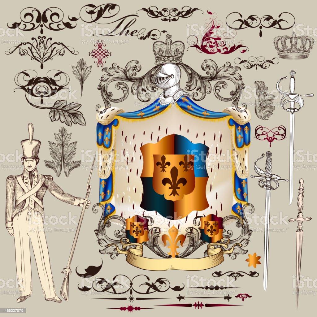 Heraldic vector set of  design elements in vintage style royalty-free stock vector art
