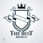 Heraldic vector sign made with different vintage elements.