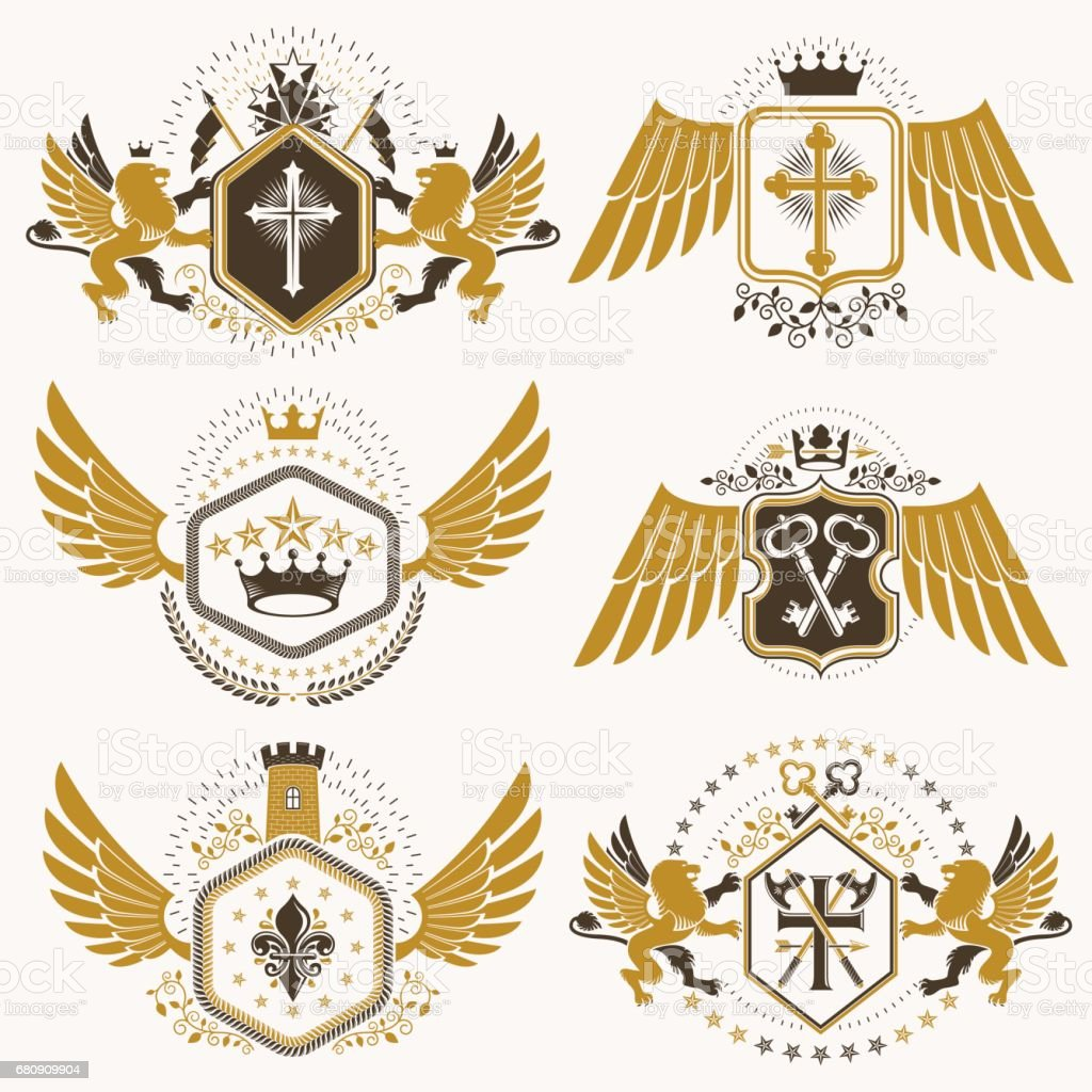 Heraldic vector signs decorated with vintage elements, monarch crowns, religious crosses, armory and animals. Set of classy symbolic graphic insignias with bird wings. royalty-free heraldic vector signs decorated with vintage elements monarch crowns religious crosses armory and animals set of classy symbolic graphic insignias with bird wings stock vector art & more images of animal