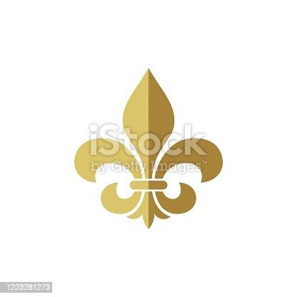 istock Heraldic Vintage Crest Flower Fleur de Lis Logo Template 1223281273