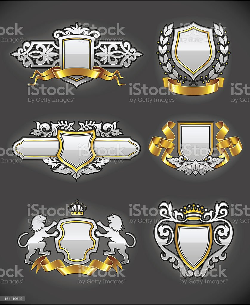 heraldic vintage emblems set silver and gold royalty-free heraldic vintage emblems set silver and gold stock vector art & more images of coat of arms