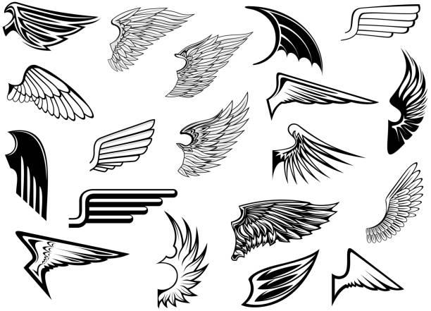 heraldic vintage wings set - angels tattoos stock illustrations, clip art, cartoons, & icons