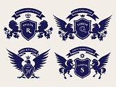 Heraldric royal crests logo set