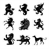 Set of 9 heraldry animals