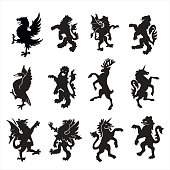 Set of 12 heraldry animals, gold color