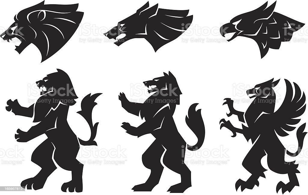 Heraldry animals vector art illustration