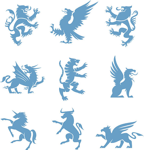 heraldry 동물 - 그리핀 stock illustrations