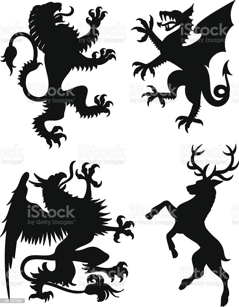 Dragon Heraldry: Heraldry Animals Stock Illustration