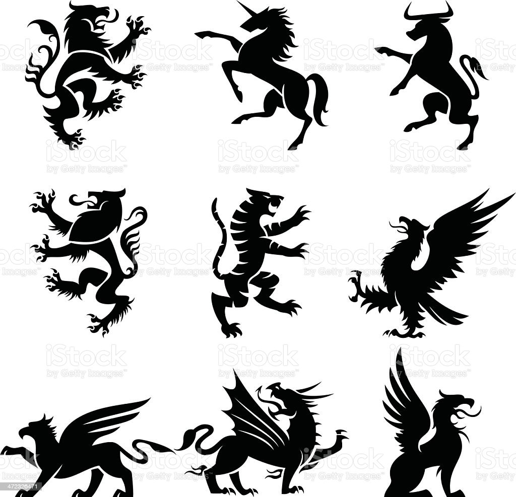 Heraldry animals vector art illustration