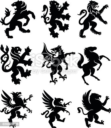 Set of 9 heraldry animals: lions, griffins, horse, dragon