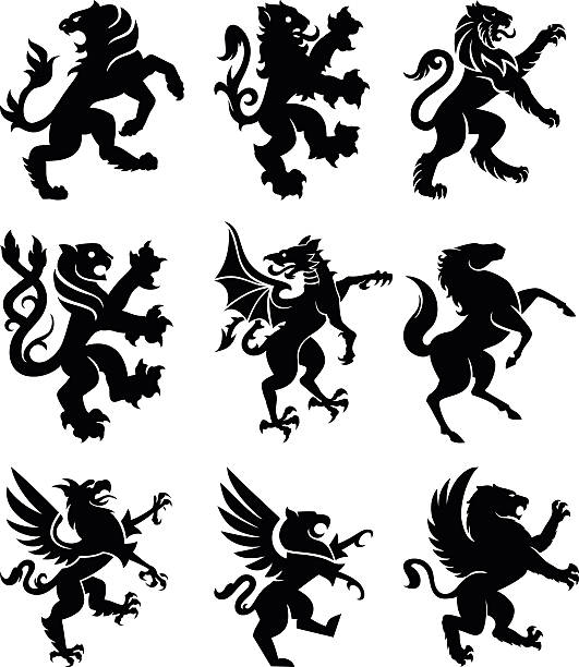 heraldry tiere - kamm stock-grafiken, -clipart, -cartoons und -symbole