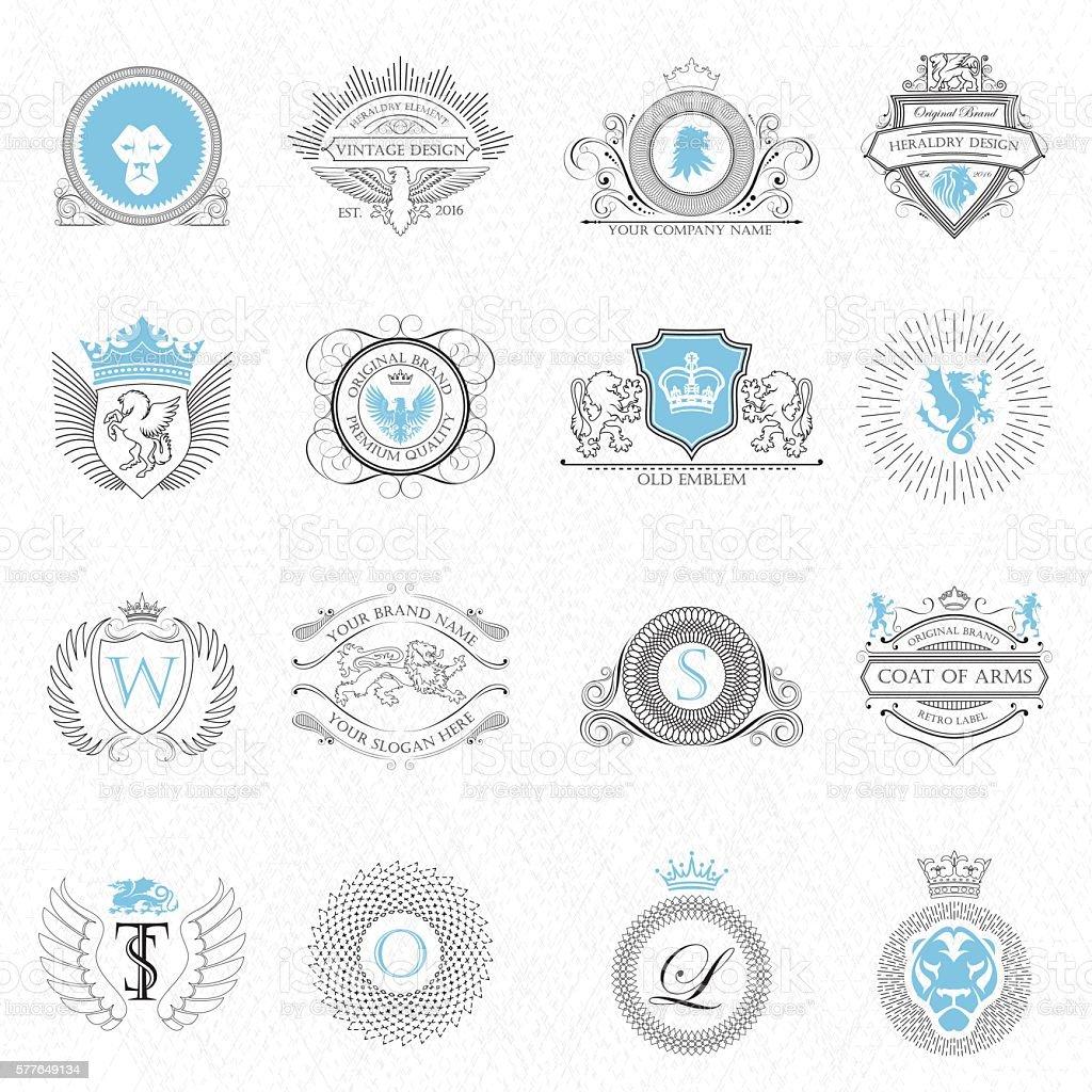Heraldry design elements outline – Vektorgrafik