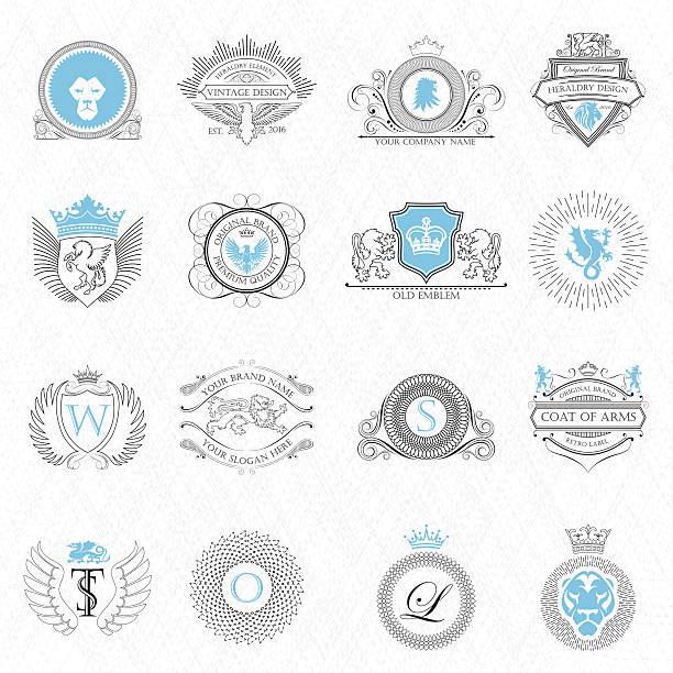 heraldry design elements outline - graffiti schriftarten stock-grafiken, -clipart, -cartoons und -symbole