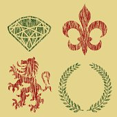 Gem stone, fleur de lys,lion, and wreath - distressed