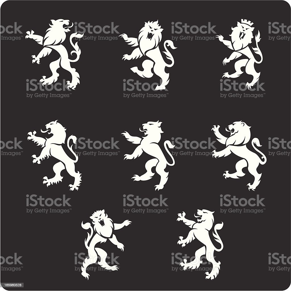 Heraldry Lions vector art illustration