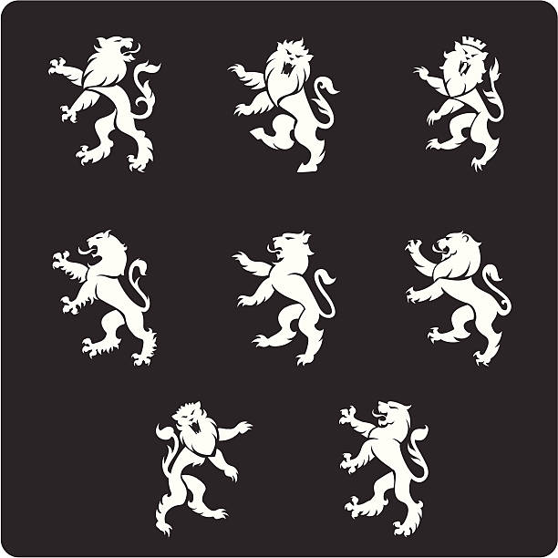 heraldry lions - lion stock illustrations, clip art, cartoons, & icons