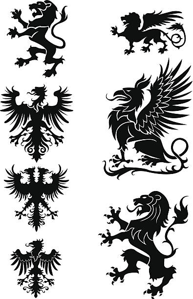 heraldry 장식 세트 - 그리핀 stock illustrations