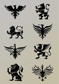Heraldry design elements,black colored.ZIP contain AI12cs2,EPS8,large jpeg and PDF files.