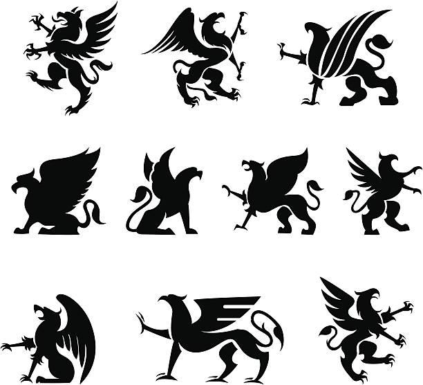 heraldy griffin - 그리핀 stock illustrations