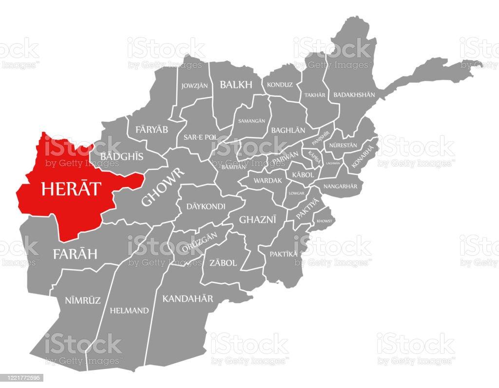 Ilustración de Herat Rojo Resaltado En El Mapa De Afganistán y más Vectores  Libres de Derechos de Afganistán - iStock