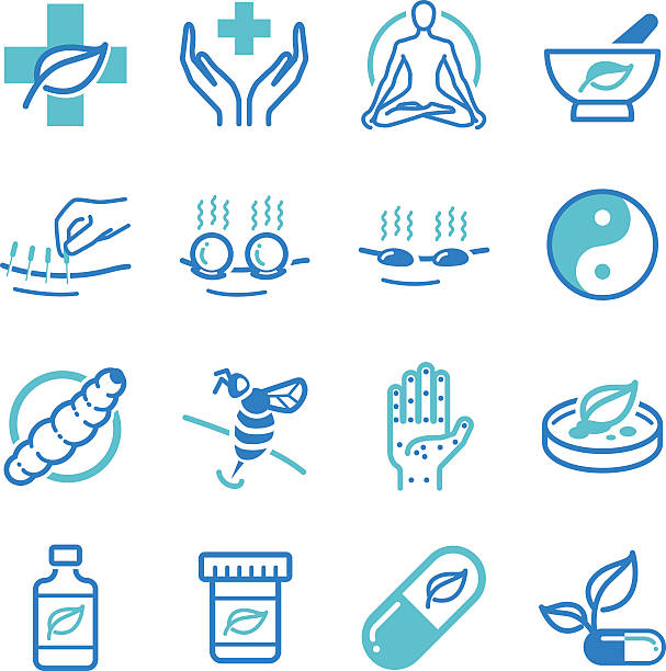 bildbanksillustrationer, clip art samt tecknat material och ikoner med herb and alternative medicine icons - acupuncture