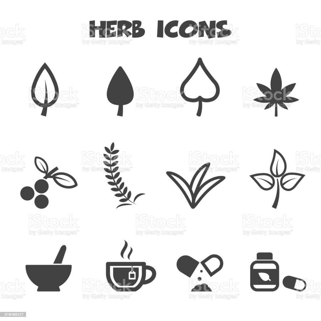 herb icons vector art illustration