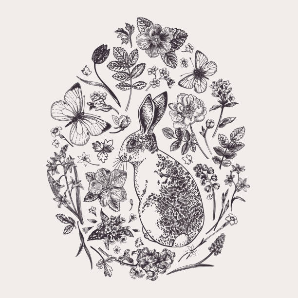 Herbal composition with flowers and rabbit. vector art illustration