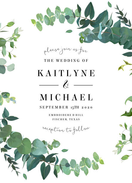 Herbal invitation simple vector vertical frame Herbal invitation simple vector vertical frame. Hand painted plants, branches, leaves on white background. Wedding design. Eucalyptus selection natural card. All elements are isolated and editable lush foliage stock illustrations