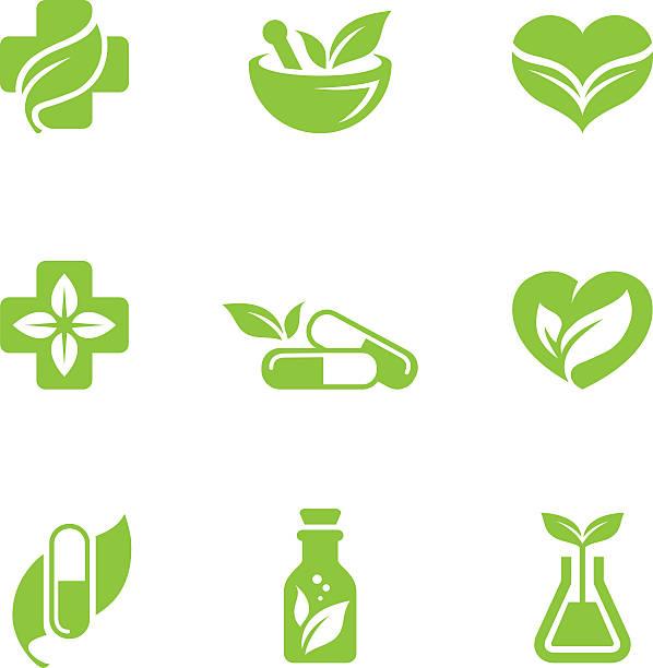 kräutermedizin symbole set - kräutermedizin stock-grafiken, -clipart, -cartoons und -symbole