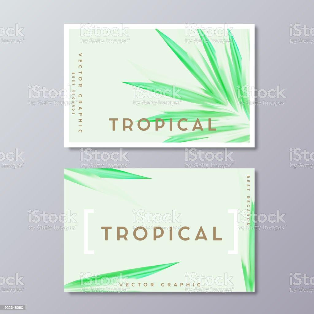Herbal Medicine Ou Spa Traitement Carte Daffaires Modeles Feuilles De Palmier Peints Tropical