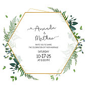 Herbal minimalist geometric vector frame. Hand painted plants, branches, leaves on white background. Greenery wedding invitation. Watercolor style. Gold line art.All elements are isolated and editable