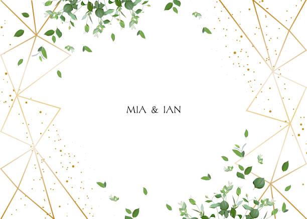 ilustrações de stock, clip art, desenhos animados e ícones de herbal minimalistic horizontal vector frame - folhagem viçosa