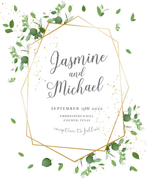 Herbal minimalistic polygonal vector frame Herbal minimalistic polygonal vector frame.Hand painted plants, branches, leaves on white background.Greenery wedding invitation. Watercolor style.Gold line art.All elements are isolated and editable lush foliage stock illustrations