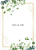 Herbal minimalistic vector frame. Hand painted plants, branches, leaves on white background. Greenery wedding square invitation. Watercolor style. Gold line art. All elements are isolated and editable