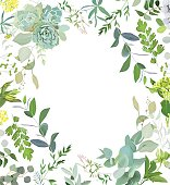 Herbal mix square vector frame. Hand painted plants, branches, l